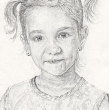 Aleksandra, five years old girl, from studio photograph, birthday present. Pencil drawing by Katerina Wood