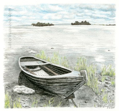 Boat on the lakeside, . Pencil drawing by Katerina Wood