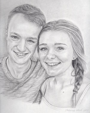 Jo's Childrens, . Pencil drawing by Katerina Wood