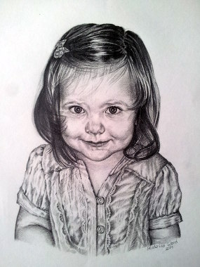 Sveta's daughter, . Pencil drawing by Katerina Wood
